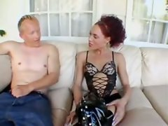 Hot shemale in boots fucks him