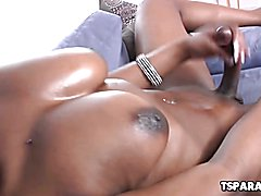 Busty Black Tgrirl Brownie Plays With Her Cock